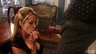 Voluptuous Jessica Drake giving the mature guy a nice cowgirl ride