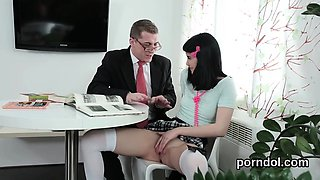 Natural college girl is seduced and rode by her older school