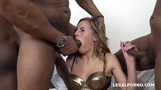 Two Czech babes buttfucked by toys and then black dicks
