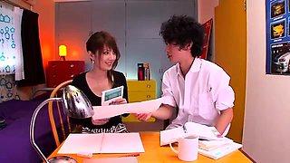 Japanese cuties seducing office guys into steamy sex