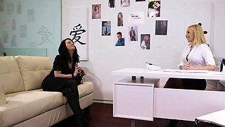 Blonde Aaliyah licks fingers her boss Cherrys wet pussy
