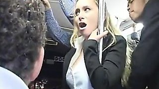 Blond Milf groped to orgasm on bus & fucked
