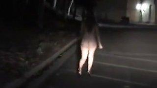 Drunk nympho masturbates in the street