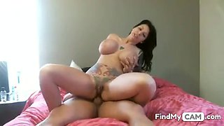 Chick with giant melons rides cock up her ass on livecam -2