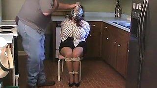 bbw granny bound on chair in kitchen