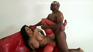 Busty ebony starlet has some fun with a hung black superstud