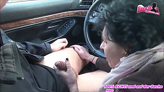 Old german granny hitchhiker in black stockings fucks in car and outdoor with stranger