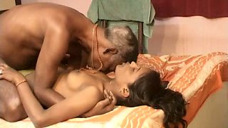 Horny mature dude makes his wifey suck his strong cock on bed