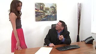 Skinny secretary Kacy Lane gets punished by her boss
