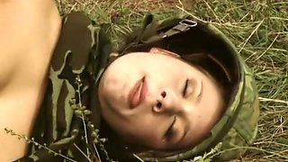 Busty and beautiful soldier girl fucks in the field