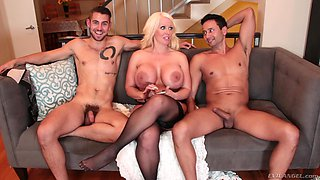 Sweet Alura Jensen and her friends like to pose near big cocks