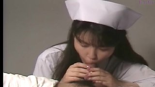 Nice Japanese nurse gives him head and jerks him off