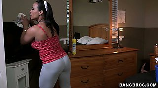 Curvaceous brunette maid is talked into hardcore while doing her job