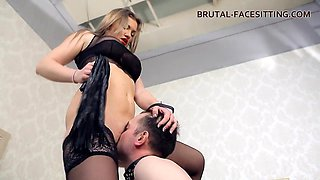 Hottest babe in black lingerie sits on the face of her slave