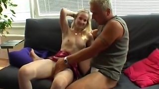junior pretty blonde has fun with very a small cock !