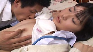 Shy college student Tsubomi gets pleasured on bed