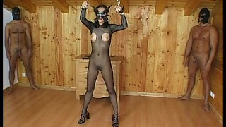 Horny doll in a BDSM slave fetish getting screwed doggy style
