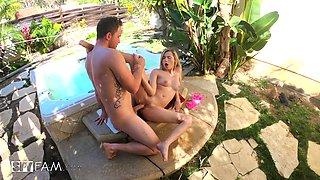 Irresistible Carolina Sweets gets to satisfy a big cock outdoors