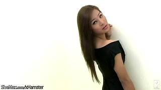 hairy thai ts model in black lingerie, remove them lstick