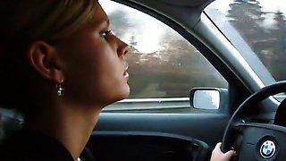 hot milf smoking in car