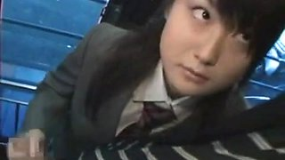 Oriental Schoolgirl give Cook Jerking in Public Bus
