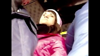 The girl continually looking at dick in the bus