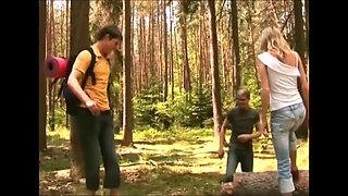 she MMF bisexual caned in the woods !!!