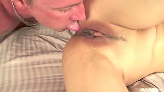 Asian babe rides a cock before being filled with sticky jizz