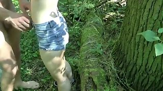 Shy innocent teen loves her first creampie in the woods