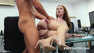 Red haired babe Ella Hughes is delighted with big and hard dick