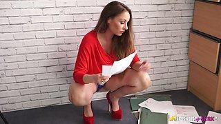 Leggy secretary in short skirt Sophia Delane takes off panties in the office