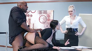 Black hunk fucks tight Angela White down at the office