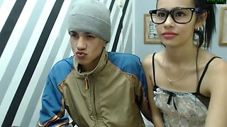 tiny teen camgirl with glasses gets facial from her boyfriend