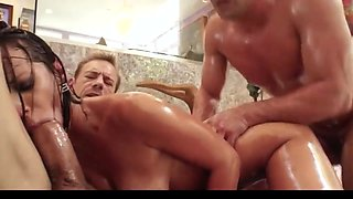 Oiled up anal dp fuck whore