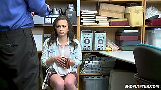 Pretty hot brunette Alex More is punished hard for shoplifting