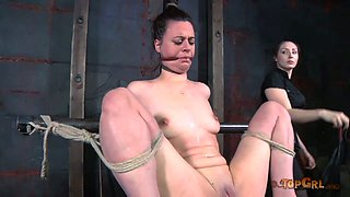 Small tittied slave gets her pussy whipped hard by her hot dominatrix