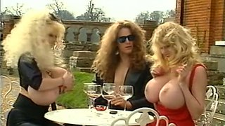Exquisite busty blonde milfs outside showing off their goodies
