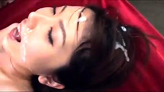 Stacked Japanese nympho gets gangbanged and covered in cum