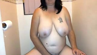 Hairy heavy white amateur wife in the restroom on cam