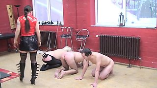 German Mistress 3 boys whipping