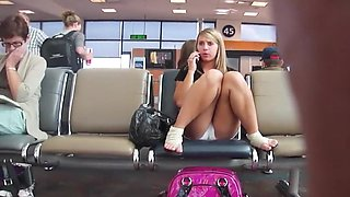 Curvy girl's cameltoe got taped at the airport