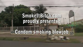 PVC blowjob smoking lesson