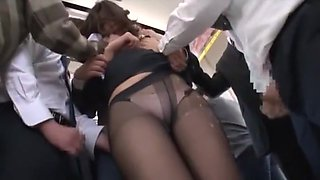 Hottest Japanese whore Miharu Izawa, Azusa Maki, Mirei Shiratori in Crazy Fingering, Bus JAV video