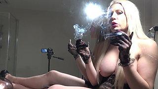 PREVIEW MIRROR SMOKING IN GLOVES BLONDE BIG TITS SMOKING POV