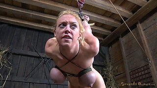 Messy haired wild blonde is fixed in strappado bondage pose and gets fucked