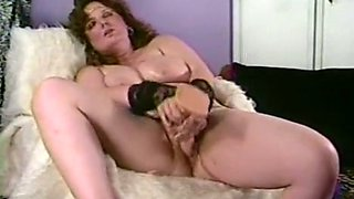 Passionate solo action of a redhead vintage BBW milf