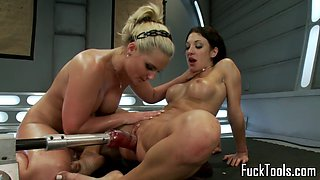 Busty machine milfs fisting and pussylicking