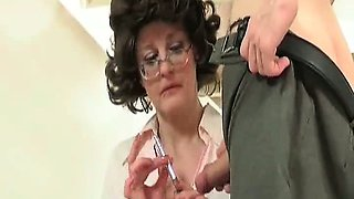 Nasty brunette, mature slut with glasses is so horny with