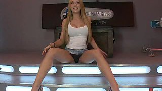 Beautiful Brunette Shows Off Her Body As She Plays With A Fucking Machine