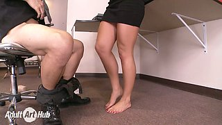 Long haired brunette lady Abby Cross presents stout deep throat to her boss